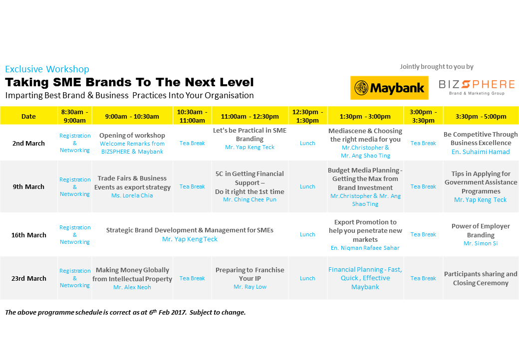 MAybank BIZSPHERE workshop schedule